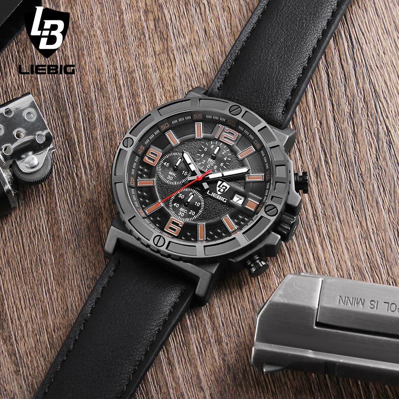 LIEBIG 1016 Mens Fashion Quartz Watches Luxury Waterproof Leather Strap Auto Date Sport Military WristWatch Relogio Masculino liebig luxury brand sport men watch quartz fashion casual wristwatch military army leather band watches relogio masculino 1016