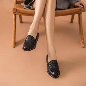 Image 5 - Beautoday Klassieke Vrouwen Penny Loafers Schapenvacht Lederen Puntschoen Moccasin Flats Zwarte Kleur Plus Size Schoenen Handgemaakte 2701310