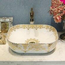 Lavabo hecho a mano estilo antiguo, europeo de China, lavamanos para baño artístico, Lavabo de cerámica
