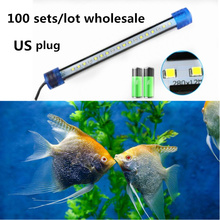 100sets/lot US plug LED Aquarium Light Fish Tank Bar 20-50CM Submersible Underwater Energy saving Lamp Waterproof