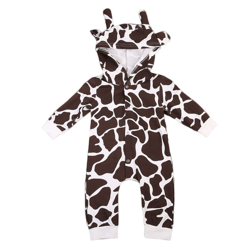 Cute Animal Cow Baby Boy Girls Warm Romper Long Sleeve Hooded 3D Toddler Kids Jumpsuit One Pieces Clothing 0-24M puseky 2017 infant romper baby boys girls jumpsuit newborn bebe clothing hooded toddler baby clothes cute panda romper costumes