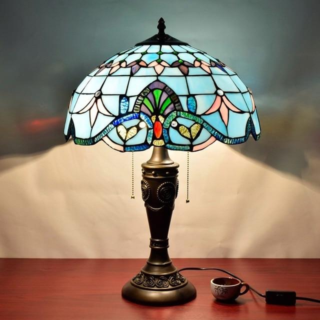 16 pouces baroque tiffany lampe de table pays style vitrail lampe pour chambre lampe de chevet. Black Bedroom Furniture Sets. Home Design Ideas