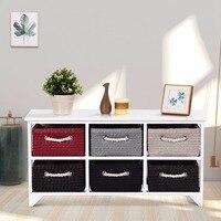 Giantex Wooden Storage Cabinet Storage Organizer Table Home Furniture W/6 Wicker Baskets Home Furniture HW59523