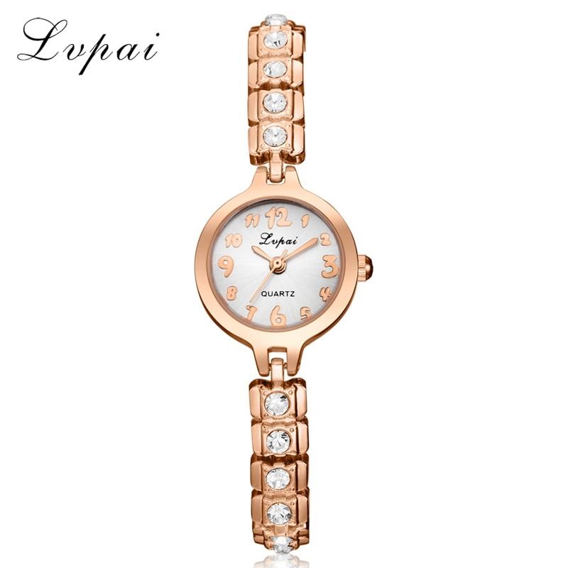 Lvpai 2017 Brand Women Fashion Luxury Watch Rose Gold Ladies Wristwatch Diamond Crystal Women Dress Watches Quartz Watch LP203