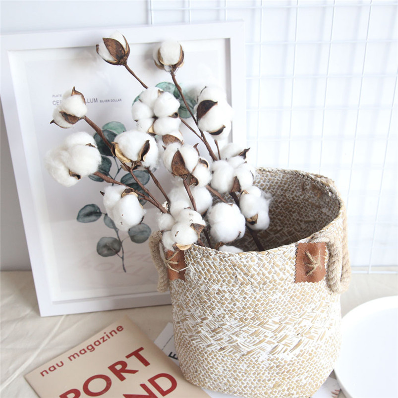 21 inch Naturally Dried Cotton Stems Artificial flower Farmhouse Sty Home Decor Bouquet Vase Holiday party Literary Simple H01 (8)