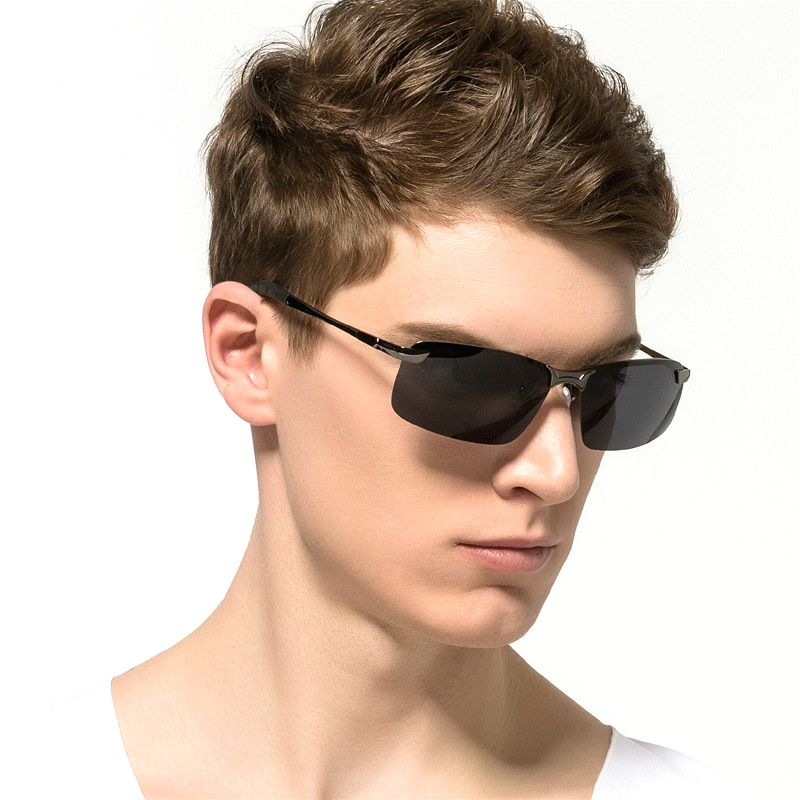 Polarized Sunglasses Men Driving Men Sunglasses Night Vision Rimless UV400 Goggles Alloy Photochromic Sunglasses Change Color