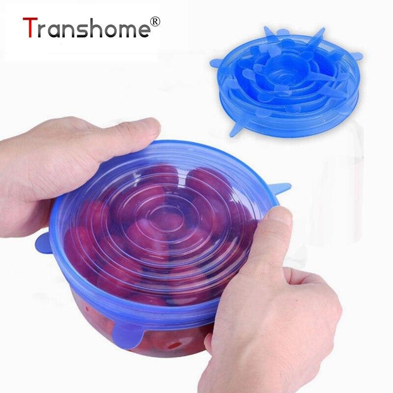 Transhome 6 stücke Lebensmittel Wraps Wiederverwendbare Silikon Lebensmittel Frisch Halten Versiegelt Covers Silikon Dichtung Stretch Deckel Küche Werkzeuge
