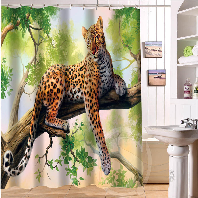 Fashion Waterproof Bath Curtains Popular The leopard Shower Curtains Bathroom Curtain