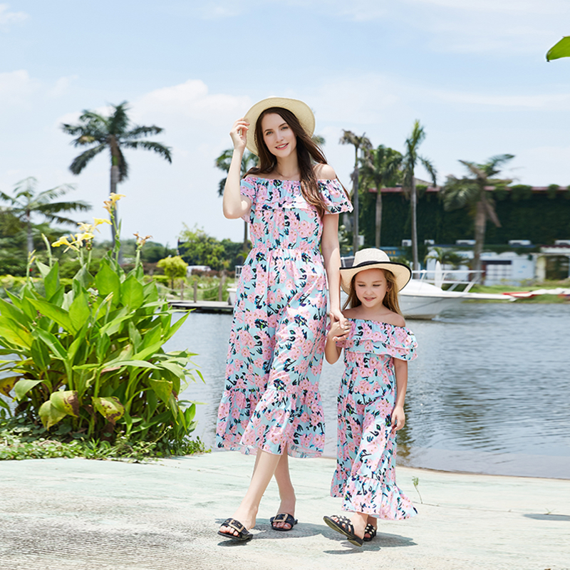 2019 Mother And Daughter Cothes Outfit  Long Dress Chiffon Off Shoulder Floral Print Bohemian Beach