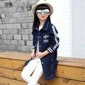 De alta calidad Primavera/Otoño Chaqueta de Las Muchachas ropa Para Niños Abrigos Niñas Sólidos Denim Trench Niños prendas de Vestir Exteriores de Las Muchachas Outwear 6-15 T