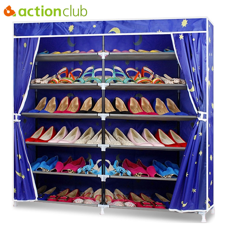 Actionclub Oxford Cloth Double Row Shoe Shelf DIY Shoe Organizer Shoe Rack Storage Shoe Cabinet Home Furniture Living RoomActionclub Oxford Cloth Double Row Shoe Shelf DIY Shoe Organizer Shoe Rack Storage Shoe Cabinet Home Furniture Living Room