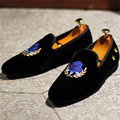 New High Quality Men Embroidery Flats Luxury Velvet Smoking Slippers Black Mens Casual Boat Shoes Slip On Loafers Espadrilles