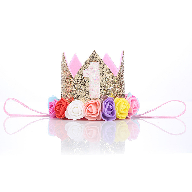 Baby Girl Birthday Party Hats 1st 2 3 years old Birthday Princess Crown Party Hat Glitter Birthday Headband