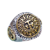 Real 925 Sterling Silver Jewelry Gothic Rings For Men Unique And Cool Sun Flowers With Smiling Face Opening Type