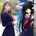 Hell girl cosplay marinheiro uniforme estudante japonês kawaii lolita laço camisa saia trajes cosplay deep blue sailor dress