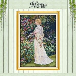Aromas florais menina bonita do anjo pintura Needlework kits Ponto de Cruz Define Bordado DMC 14CT 11CT Contados impressos em lona