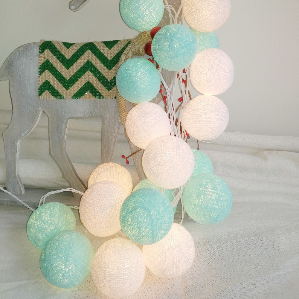 20PCS/SET Cotton Ball String Lights Fairy Party Wedding Home Garden Garland Decor Aqua Mint+white,AA Battery/USB/Plug In Powered