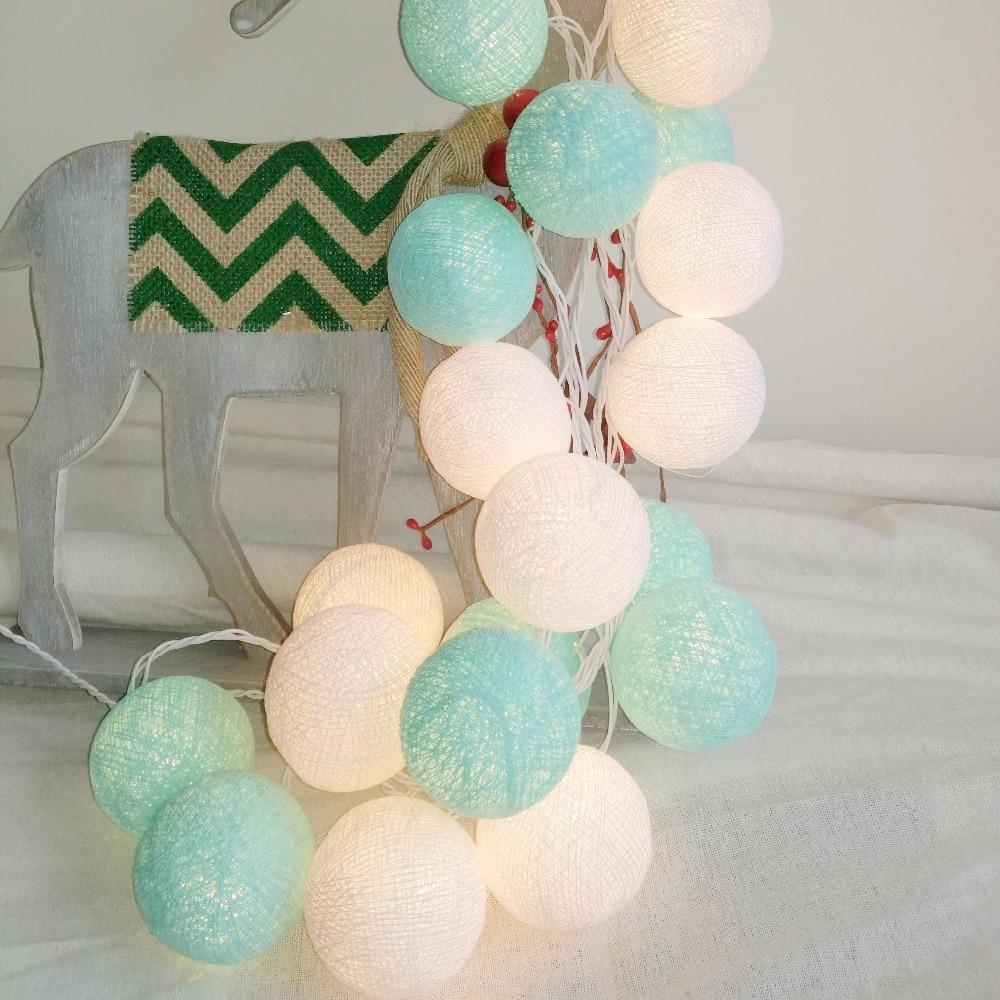 20PCS/SET Cotton Ball String Lights Fairy Party Wedding Home Garden Garland Decor Aqua Mint+white,AA Battery/USB/Plug In Powered