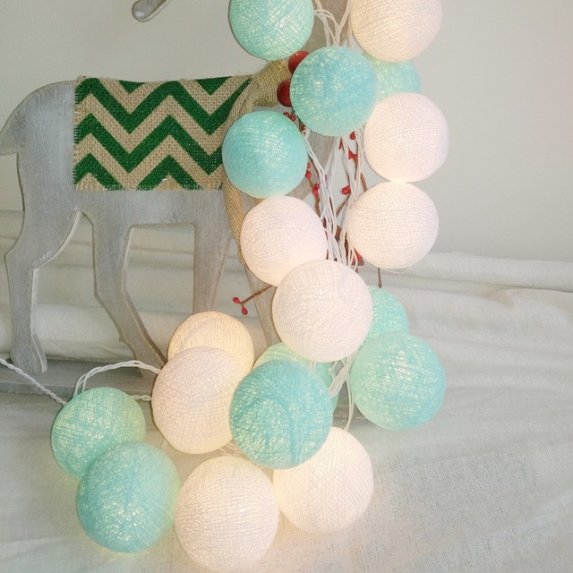 Aliexpress com   Buy 20PCS SET cotton ball string lights fairy party     20PCS SET cotton ball string lights fairy party wedding home garden garland  decor Aqua Mint
