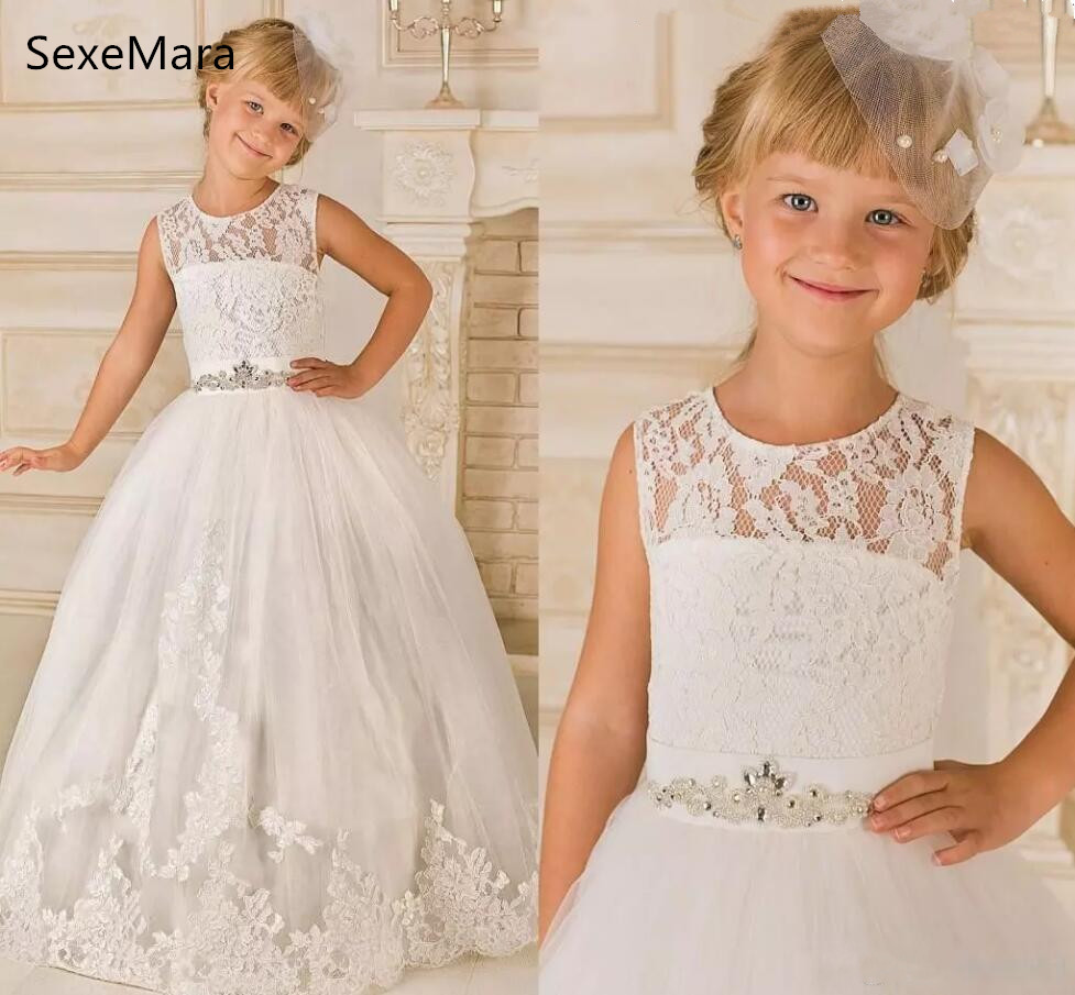 2018 Princess Lace Flower Girl Dresses Lace Satin Floor Length kids Girls Birthday Party Dress Pageant Gowns Communion Dress see thru mini lace dress