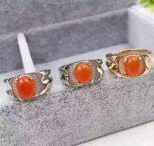 Natural south red agate Ring Natural gemstone Ring 925 sterling silver trendy Elegant big round women's party Jewelry