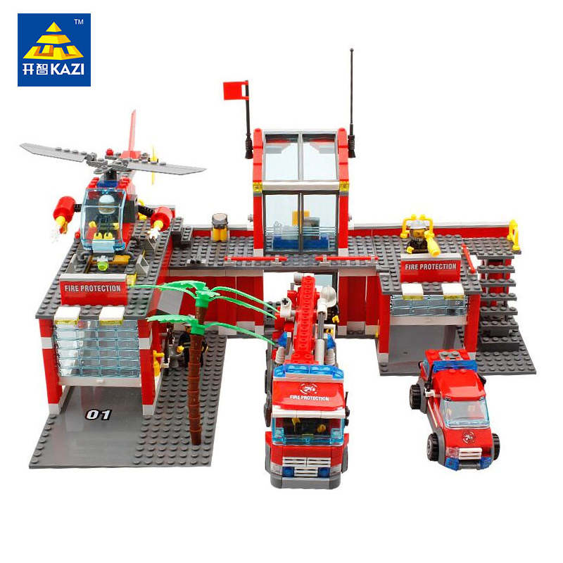 KAZI Toys City Construction Series Building Blocks DIY Original Fire Station Bricks Christmas Gift For Kid Compatible Legoe City kazi fire department station fire truck helicopter building blocks toy bricks model brinquedos toys for kids 6 ages 774pcs 8051