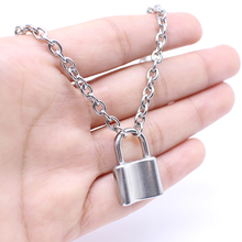 Stainless Steel Silver Color PadLock Pendant Necklace Brand