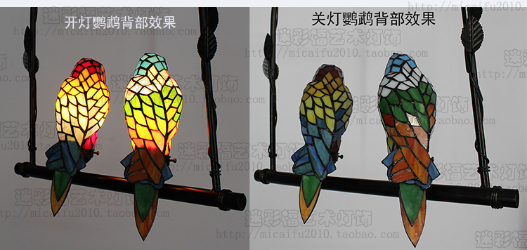 Parrot Tiffany Stained Glass Suspended Luminaire E27 110-240V Chain Pendant lights for Home Parlor Dining bed Room
