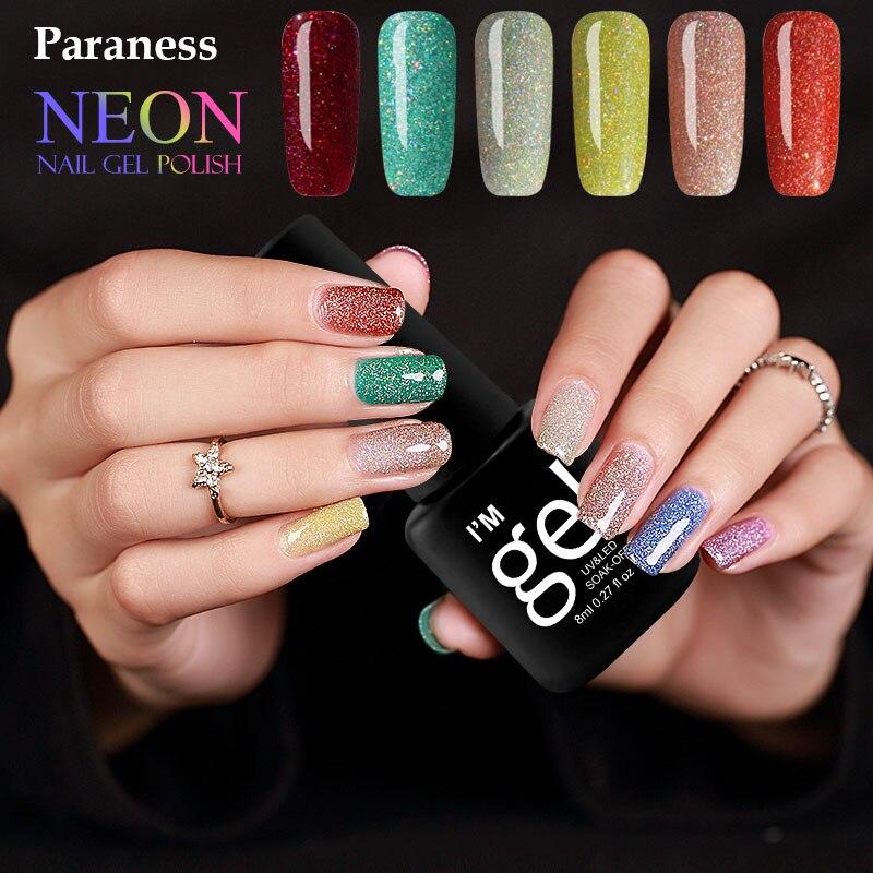 Paraness Colorful Foil Adhesive Gel Nail Polish Neon Bling UV LED Lamp Soak off Lucky Colors 8ml Gel Polish Nail Art
