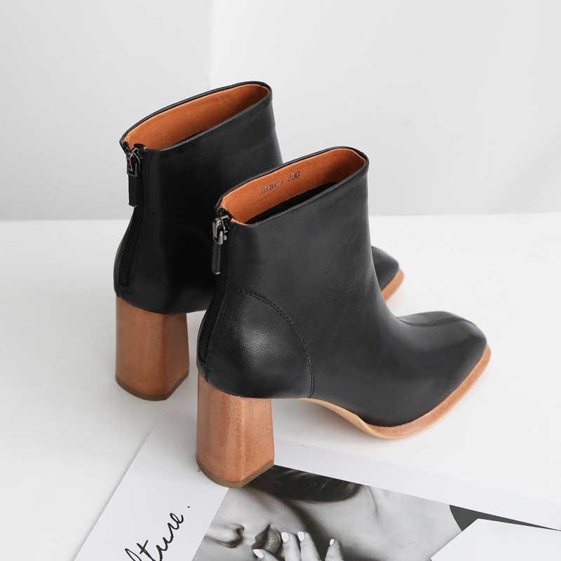 2018 VALLU kış botu ayakkabı kadın ayak bileği sıcak çizmeler hakiki deri kare ayak fermuar yüksek topuk bayan botları beyaz/siyah