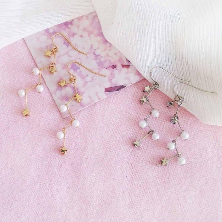 פרל עגילי אישה אופנה זהב כוכבים פרל להתנדנד עגילי אביזרי תליוני עגילים לנשים כוכבים עגילים סיטונאי