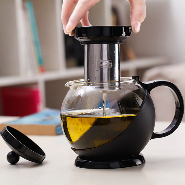 750ML Heat Resistant Tea Coffee Water Glass Tea Pot With Stainless Steel  Filter Faced Modern