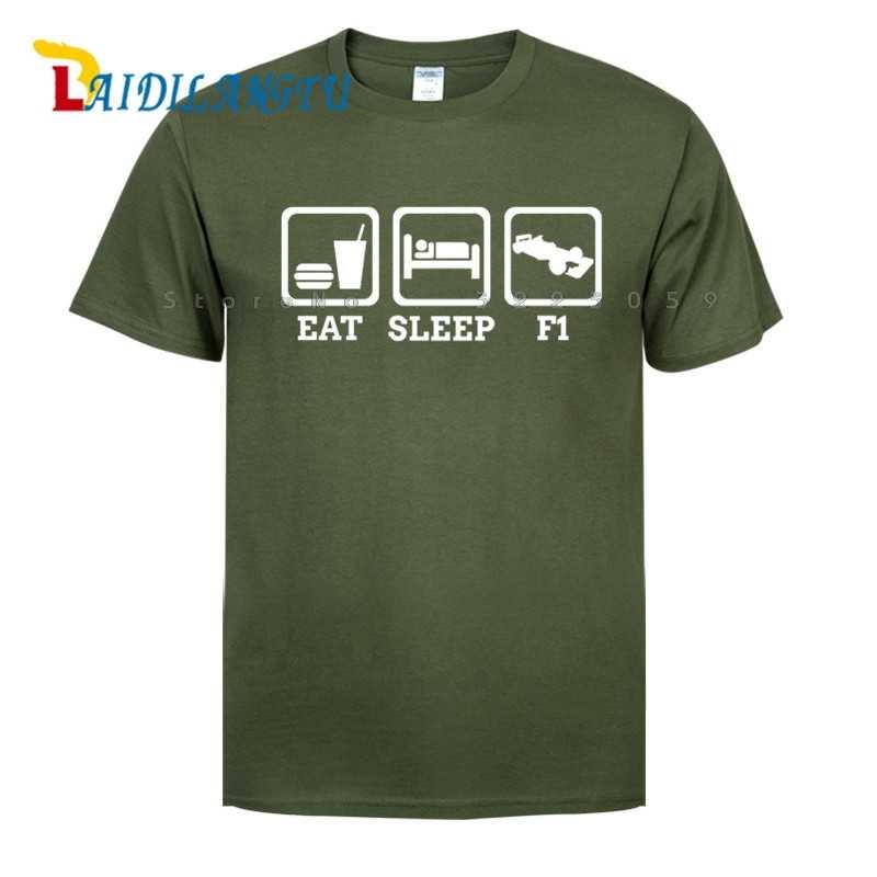 """Для мужчин s """","""" EAT SLEEP часы F1 автомобиля Футболка-формулы Гран-при футболка Для мужчин футболка с коротким рукавом, с О-образным вырезом, модная футболка"""