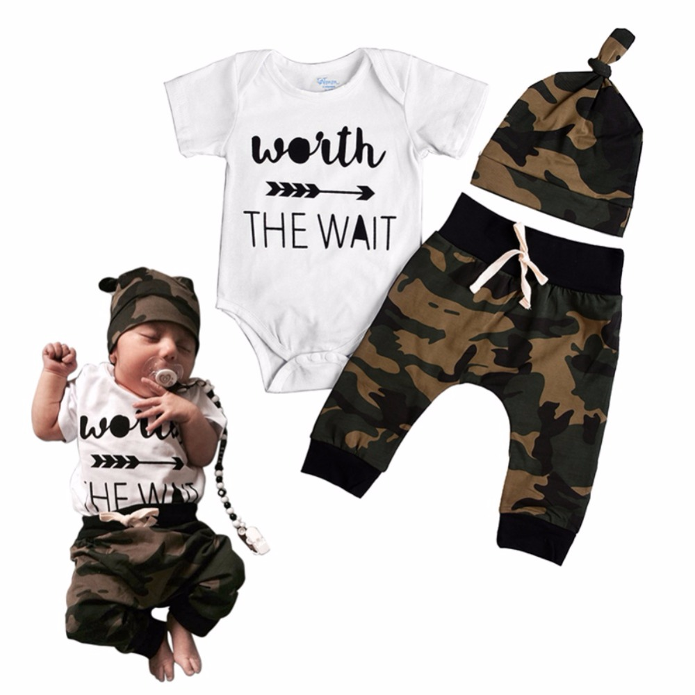 Letter Print Summer Army Green Baby Romper Clothing Baby Romper Boy Girl Newborn T-Shirt Pants & Hat Outfits Cute 3 Pcs /Set 2pcs cute newborn baby girl clothes 2017 summer solid color ruffles baby romper bunny hat outfits sunsuit kids clothing 0 24m