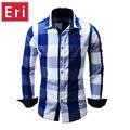 Camisa Masculina 2017 Men's Fashion Plaid Shirt Long Sleeve Casual Shirt Men Kemeja Slim Fit Business Shirts Chemise Homme X510