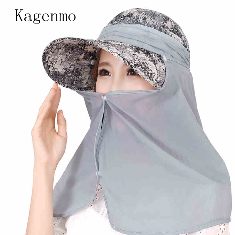 Kagenmo Outdoor Neck Protection Baseball Cap Two Wears Big Brim Sun Hat Women Cycling Stroll Casual Summer Hat Thin Breathable outdoor breathable cotton boonie hat with round brim