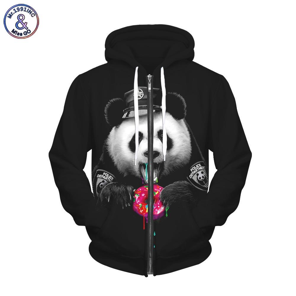 2017 Mr.1991INC Autumn Winter Fashion Fleece Zipper Hoodies Men/women 3d Sweatshirts With Cap Print Panda Sweatshirts Hooded Hoo