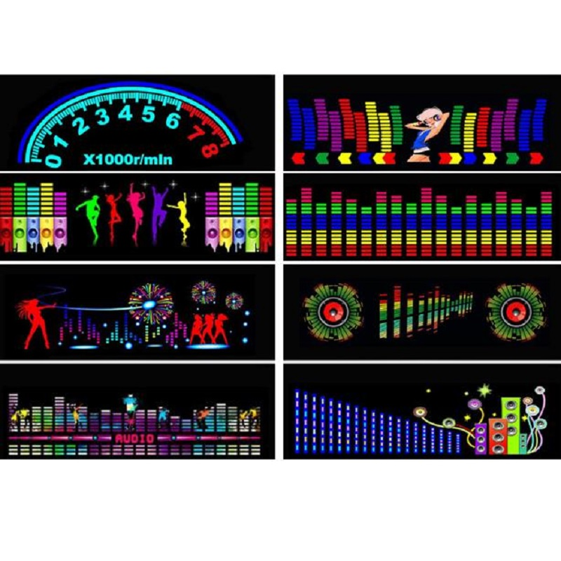 1set 90X25CM Car Sticker Music Sound Rhythm LED Flash Light Lamp Sound Activated Equalizer Rear Window Styling Cool Sticker