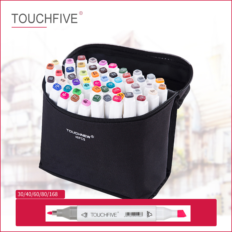 TOUCHFIVE 168 Colors Single Dual Head Sketch  Markers Pen Alcohol Based Ink Markers Pen For Manga Drawing Animation Art Supplies