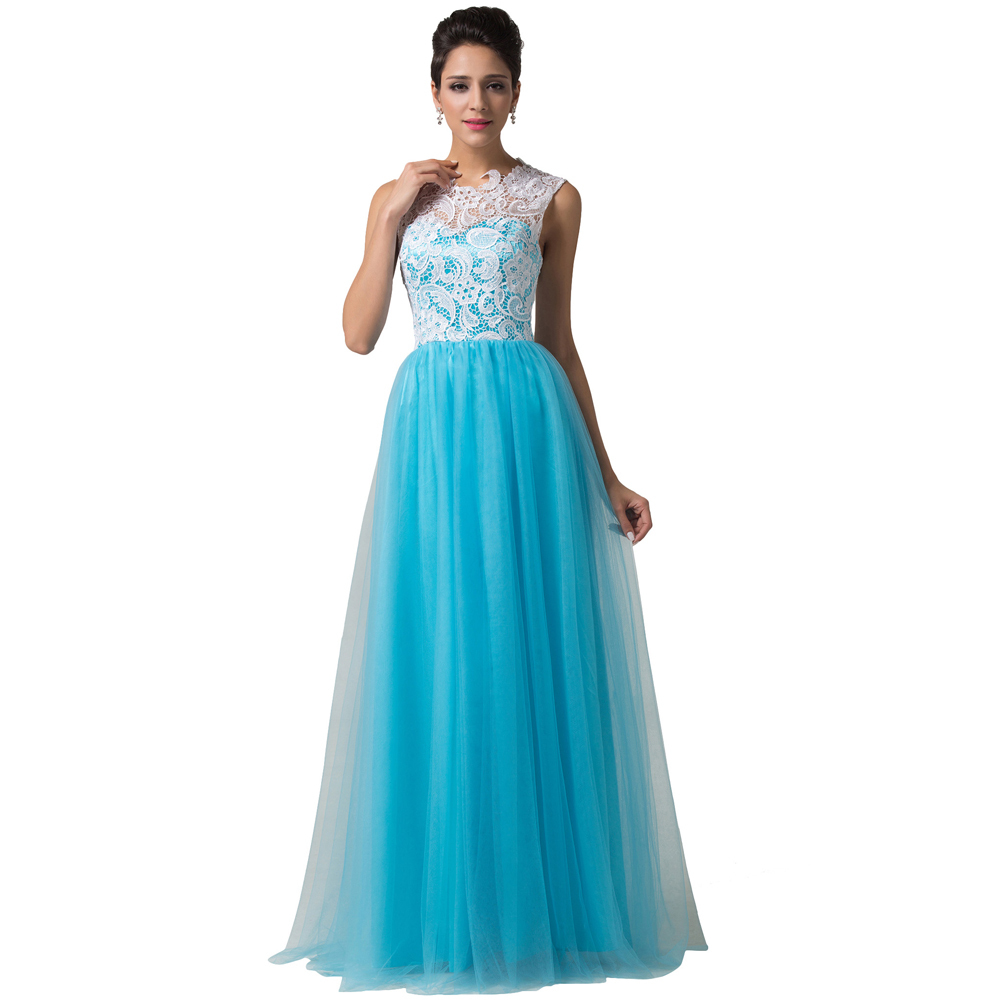 2015 Fast Delivery High Quality Beautiful Lace Long Blue Evening ...