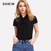 SHEIN Elegant Tie Neck Bow Eyelet Mesh Top Black Stand Collar Cap Sleeve Women Plain Blouse