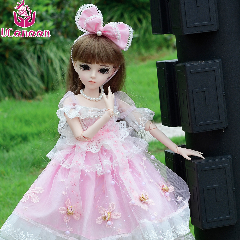 UCanaan 1/3 BJD Doll Girls DIY Dressup Toys With Pink Dress Shoes Wigs Makeup Full Outfits High Quality Baby Reborn Dolls