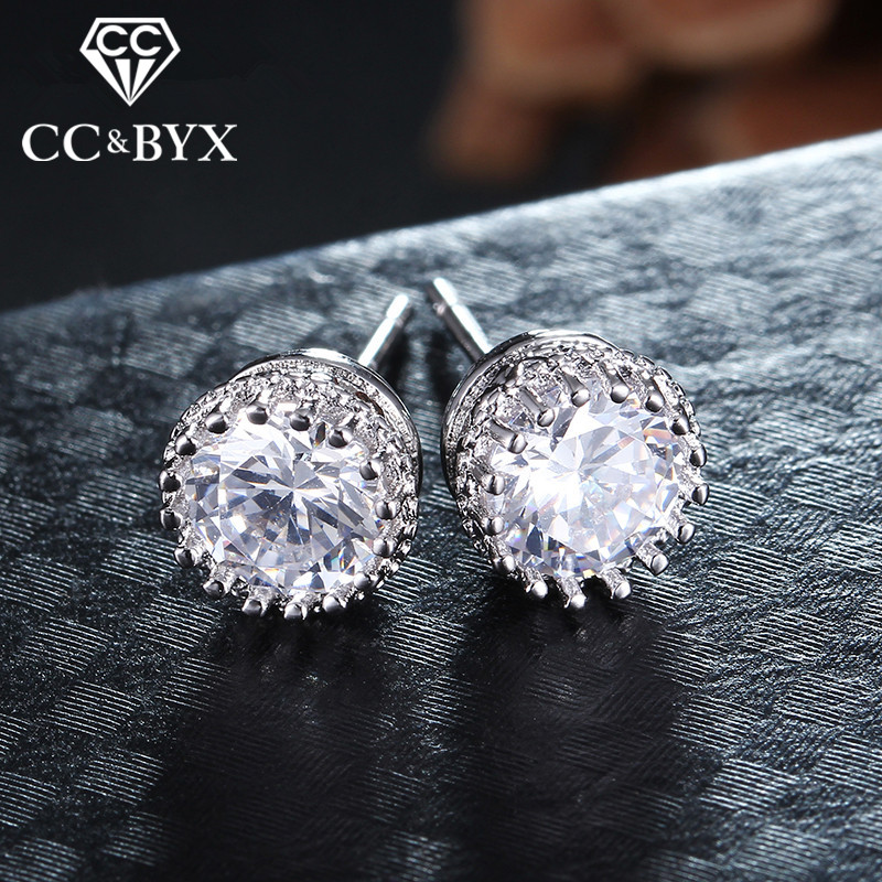Fashion jewelry CC zirconia diamond round stud earrings for women white gold plated brincos earrings for wedding vintage E001