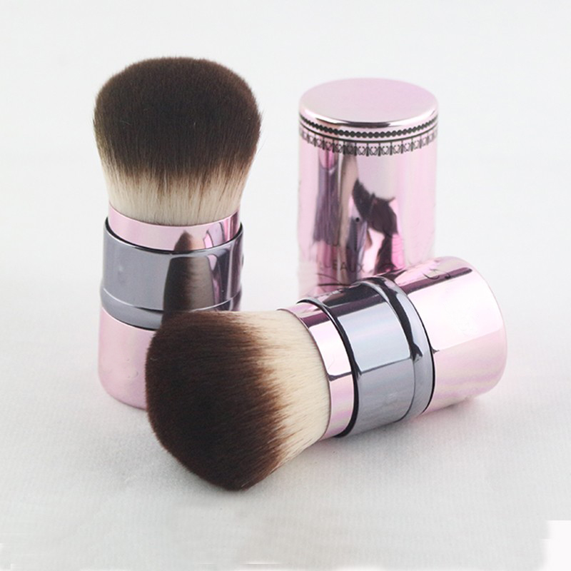 Hot Sale 1pcs Superior quality Blush Full Metal Pink Handle Portable Retractable Brush Makeup Brushes hot pink apple shaped makeup brush cleaner