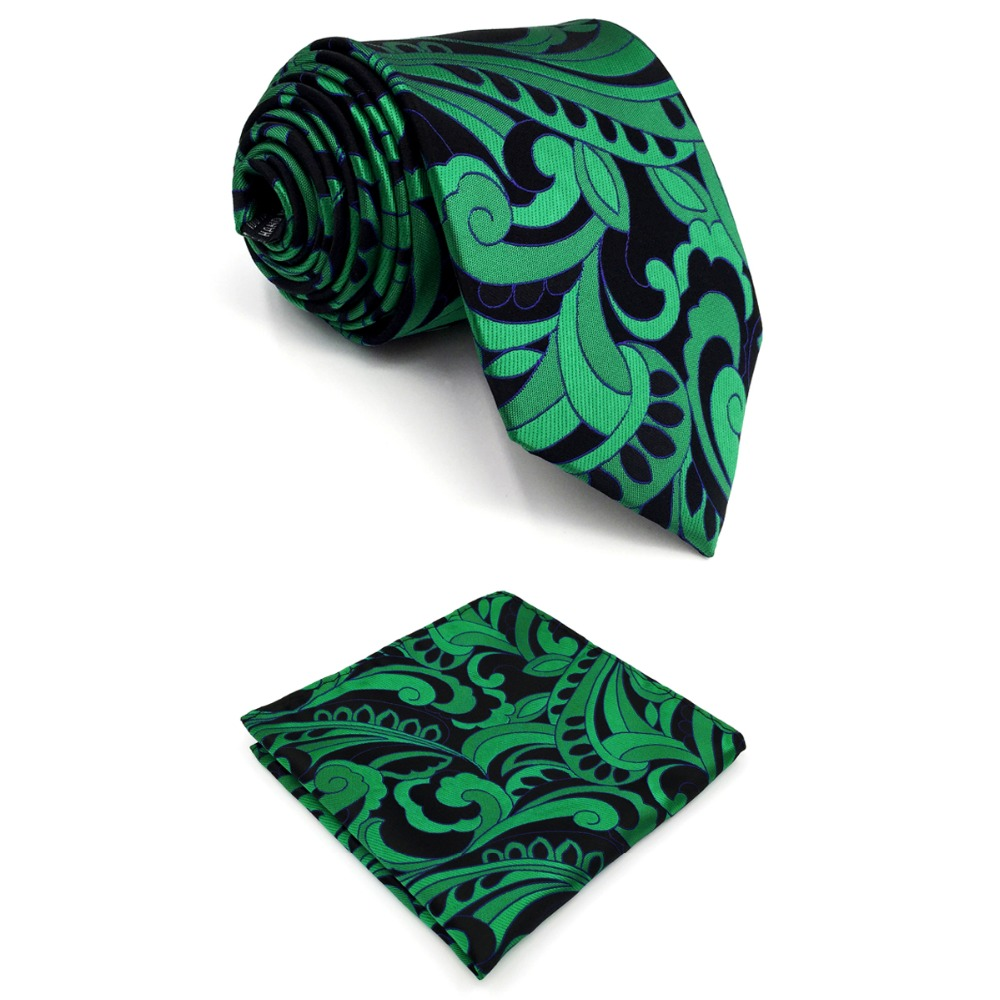 B23 Green Abstract Silk Mens Necktie Set Wedding Fashion Ties for male Classic Hanky extra long size 63