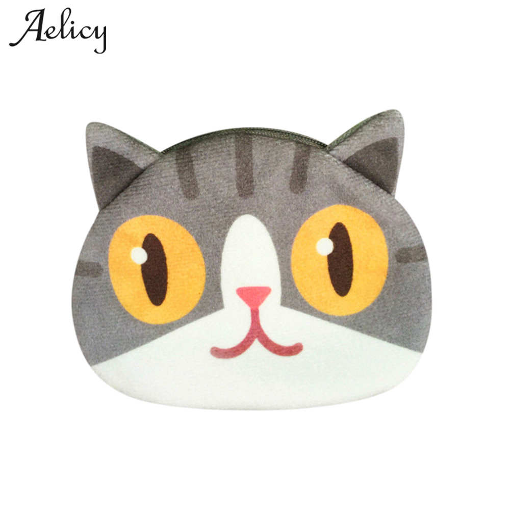 Aelicy Cute Print Cat Face Wallet Change Purse Money Bag Card Holder Plush Child Kids Student Wallet Clutch Coin Purse Hand Bag