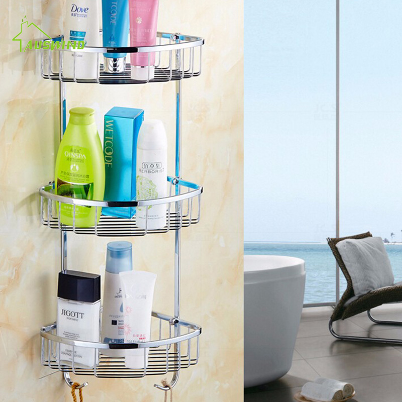 Bathroom Shower Shelf Stainless Steel Bathroom Shelf 3 Layer Chrome Bath Shampoo Basket Wall Mounted Caddy Rack