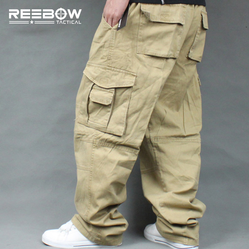 REEBOW TACTICAL Men Plus Size Cargo Pants Outdoor Sports Running Loose Fatty Trousers 4XL 5XL 6XL Max. 135cm waist 140kg summer men s casual loose denim jumpsuits overalls bib pants light blue cargo pants plus size gardener capris size xs 5xl
