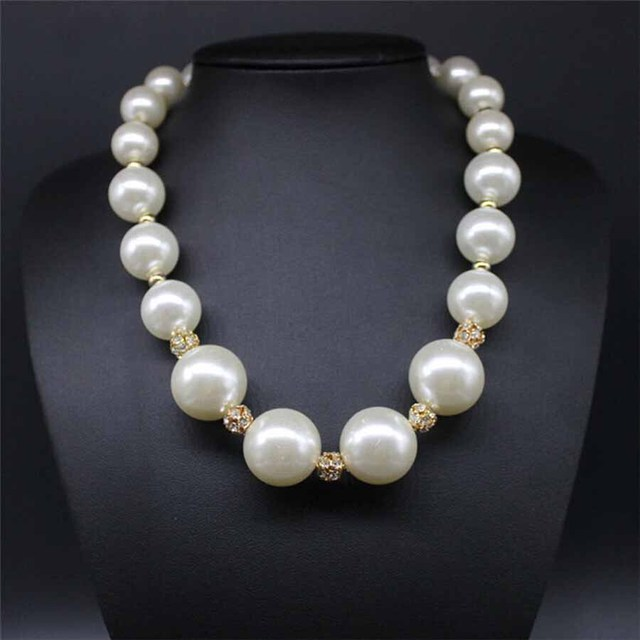 2018 Big Simulated Pearl Woman Necklace Indian Jewelry Chokers Fashion African Hand Made Necklace Statement For Party Collares