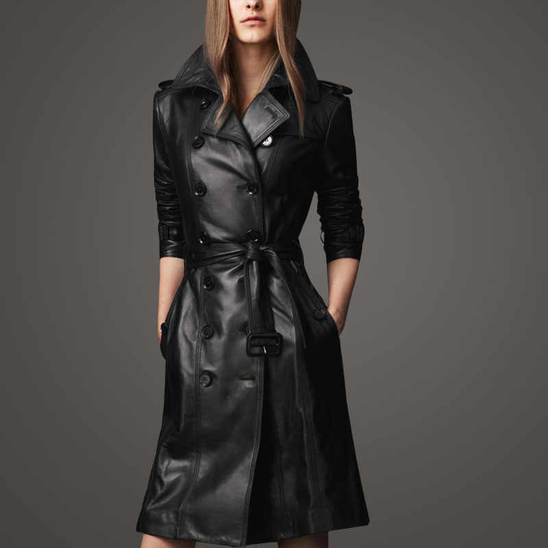 Women Full Sleeve Trench Europe Style Pu  OverCoat  Spring/Autumn Black Double-breasted Pu Leather Trench Coat Waistband